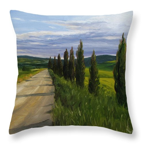 Throw Pillow featuring the painting Tuscany Road by Jay Johnson