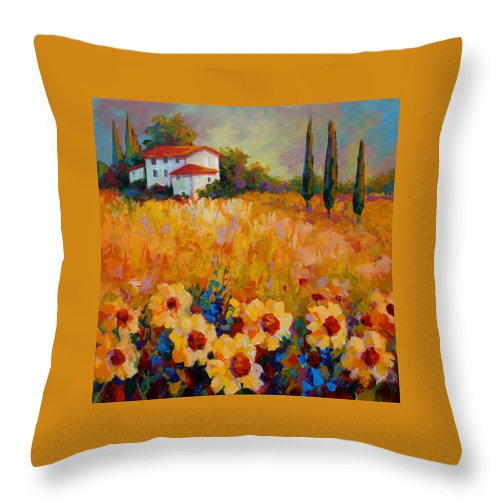 Tuscany Throw Pillow featuring the painting Tuscany Sunflowers by Marion Rose