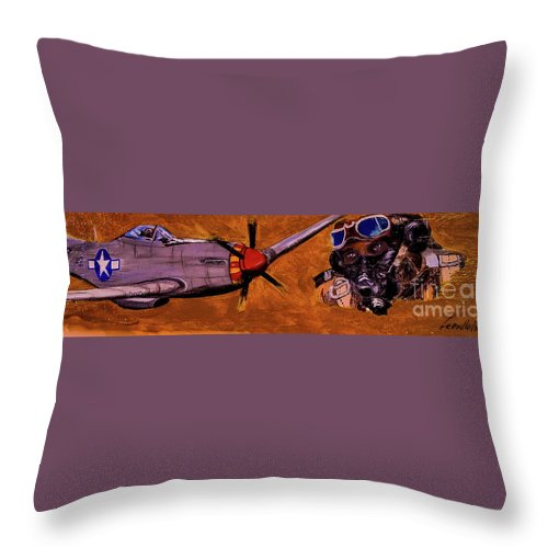 Black Pilots Throw Pillow featuring the painting Tuskegee Airmen II by Leon Hollins III