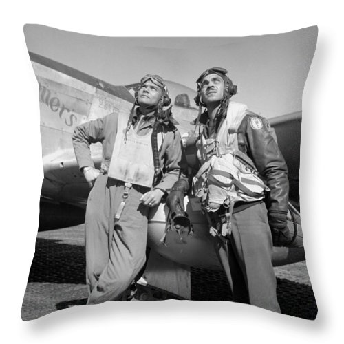 Benjamin Davis Throw Pillow featuring the photograph Tuskegee Airmen by War Is Hell Store