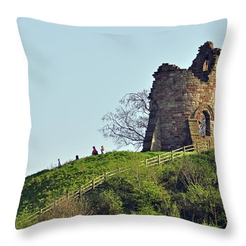 Green Throw Pillow featuring the photograph Tutbury Castle Ruins by Rod Johnson
