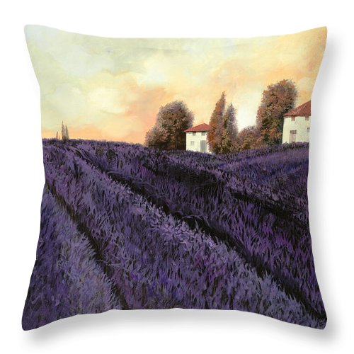 Lavender Throw Pillow featuring the painting Tutta lavanda by Guido Borelli