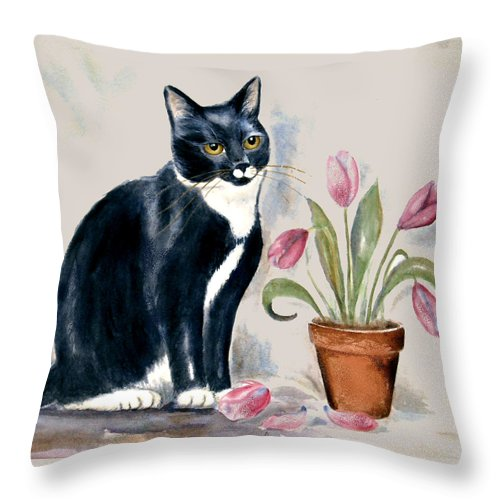 Cat Throw Pillow featuring the painting Tuxedo Cat Sitting By The Pink Tulips by Frances Gillotti