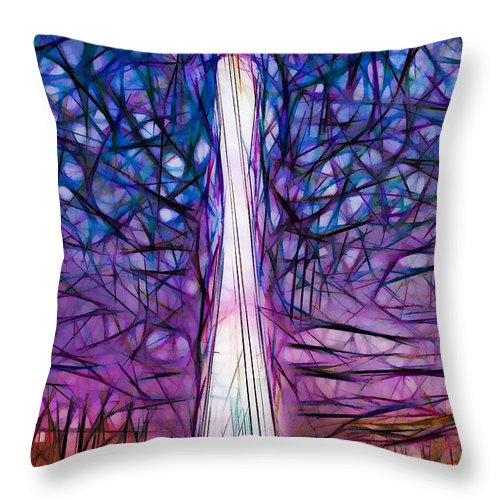 Tv Tower Throw Pillow featuring the painting Tv Tower by Jeelan Clark