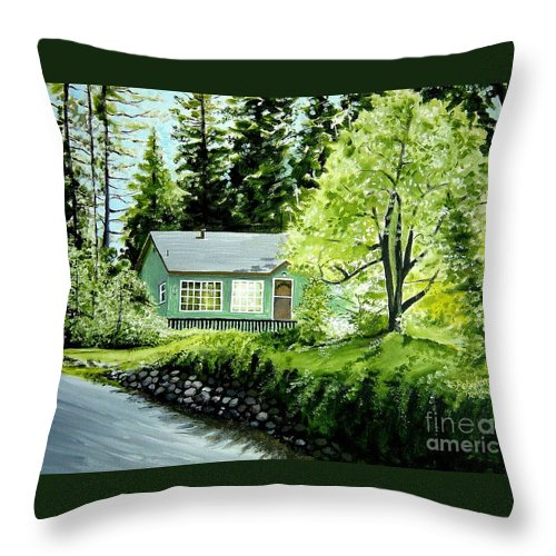 Landscape Throw Pillow featuring the painting Twaine Harte by Elizabeth Robinette Tyndall