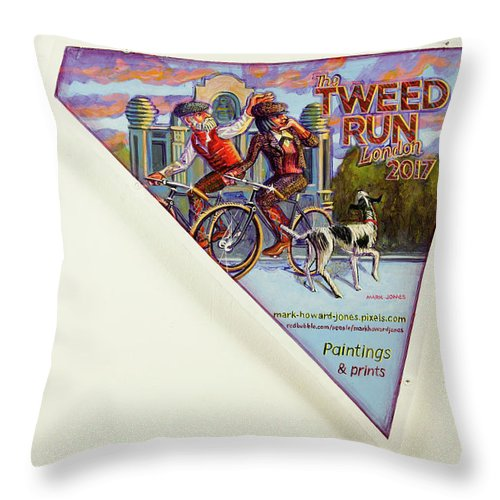 City Throw Pillow featuring the painting Tweed Run London 2 Guvnors by Mark Jones