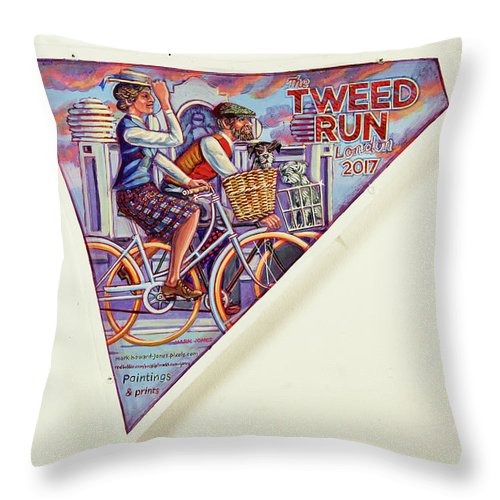 Tweed Throw Pillow featuring the painting Tweed Run London Princess And Guvnor by Mark Jones
