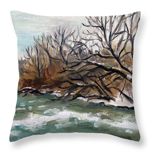 Landscape Throw Pillow featuring the painting Twelve Mile Creek by Sarah Lynch