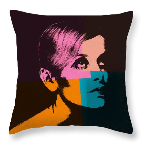 Twiggy Pop Art 2 Throw Pillow featuring the mixed media Twiggy Pop Art 2 by Dan Sproul