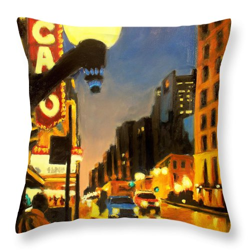 Rob Reeves Throw Pillow featuring the painting Twilight In Chicago - The Watcher by Robert Reeves