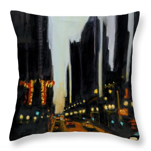 Rob Reeves Throw Pillow featuring the painting Twilight In Chicago by Robert Reeves