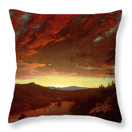 Twilight Throw Pillow featuring the painting Twilight In The Wilderness by Frederic Edwin Church