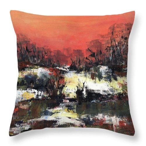Abstract Throw Pillow featuring the painting Twilight Madness by Aniko Hencz