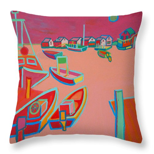 Seascape Throw Pillow featuring the painting Twilight on Menemsha by Debra Bretton Robinson