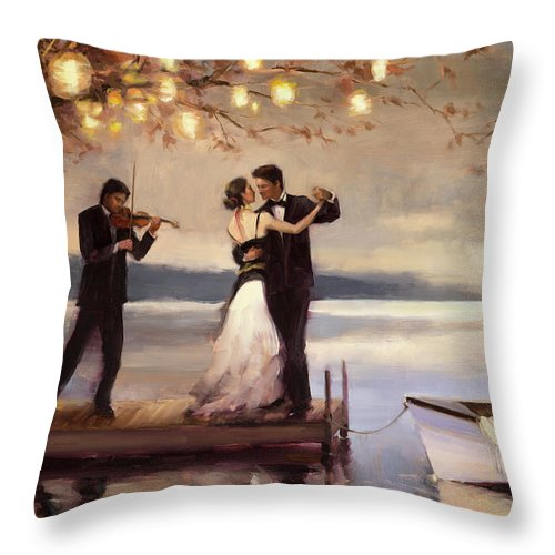 Romantic Throw Pillow featuring the painting Twilight Romance by Steve Henderson