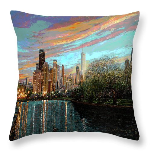 City Throw Pillow featuring the painting Twilight Serenity II by Doug Kreuger