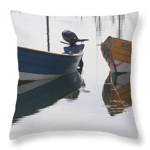 Boat Throw Pillow featuring the photograph Twin Boats by Frederic Durville