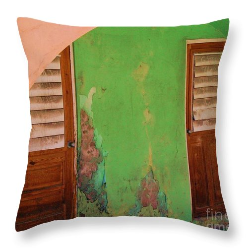 Doors Throw Pillow featuring the photograph Twin Doors by Debbi Granruth