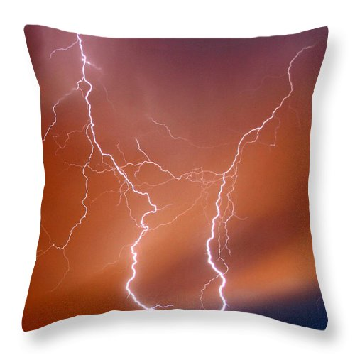 Lightning Throw Pillow featuring the photograph Twin Strike by Anthony Jones
