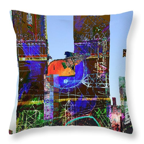 Twin Towers Throw Pillow featuring the digital art Twin Towers by Andy Mercer