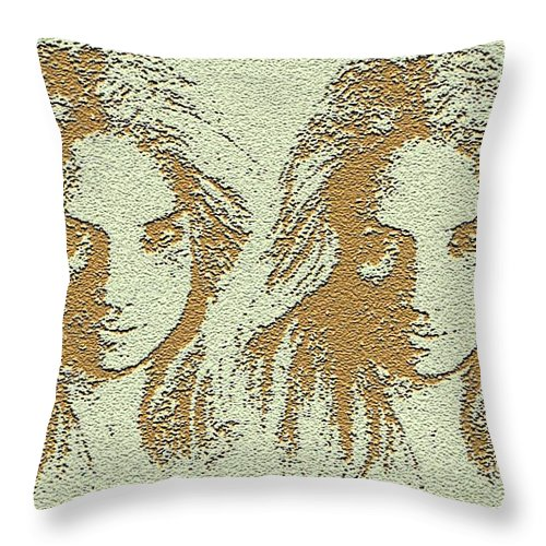 Twins Throw Pillow featuring the digital art Twins 2 by Alan Pickersgill