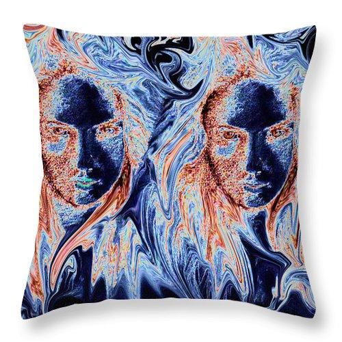 Girls Throw Pillow featuring the digital art Twins by Alan Pickersgill