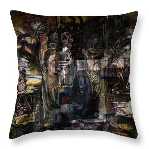 Twins By Safir Throw Pillow featuring the painting Twins by Safir Rifas