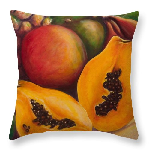Papaya Throw Pillow featuring the painting Twins by Shannon Grissom