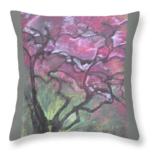Pastel Throw Pillow featuring the drawing Twisted Cherry by Leah Tomaino