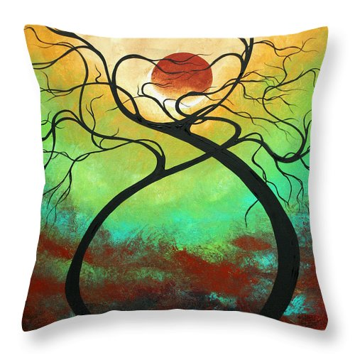 Landscape Throw Pillow featuring the painting Twisting Love II Original Painting By Madart by Megan Duncanson