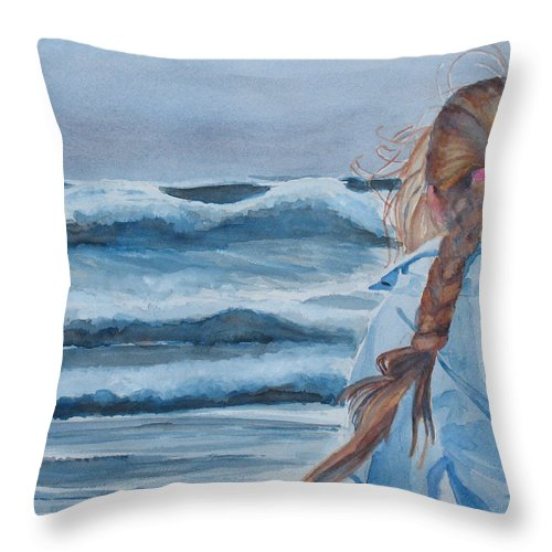 Ocean Throw Pillow featuring the painting Twixt Wind And Water II by Jenny Armitage