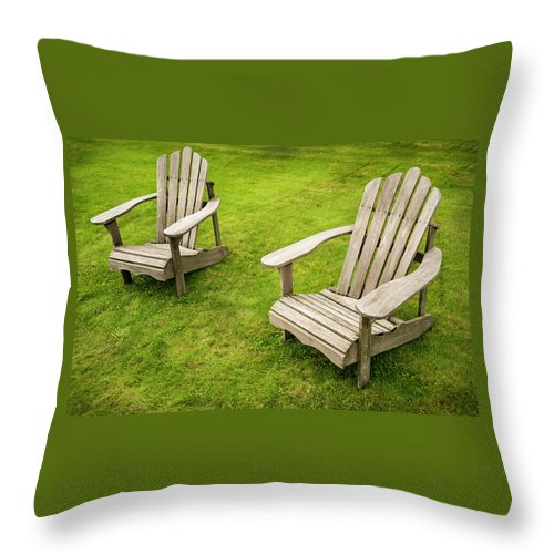 Adirondack Throw Pillow featuring the photograph Two Adirondack Chairs by Enrico Della Pietra