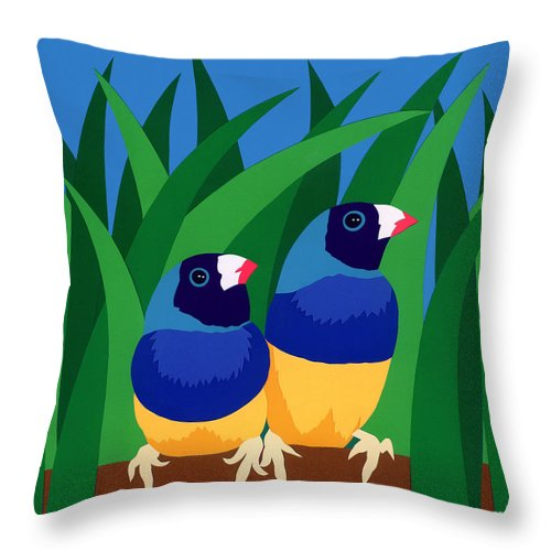 Nature Throw Pillow featuring the drawing Two Birds Sharing A Branch by Lucyna A M Green