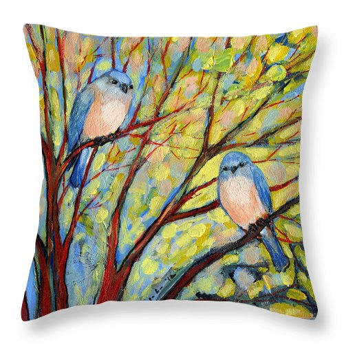 Bird Throw Pillow featuring the painting Two Bluebirds by Jennifer Lommers