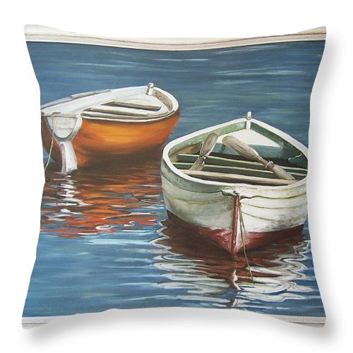 Boats Reflection Seascape Water Boat Sea Ocean Throw Pillow featuring the painting Two Boats by Natalia Tejera