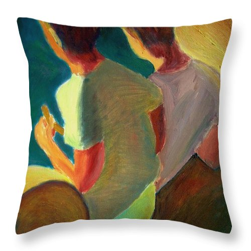 Dornberg Throw Pillow featuring the painting Two Boys On A Boat by Bob Dornberg