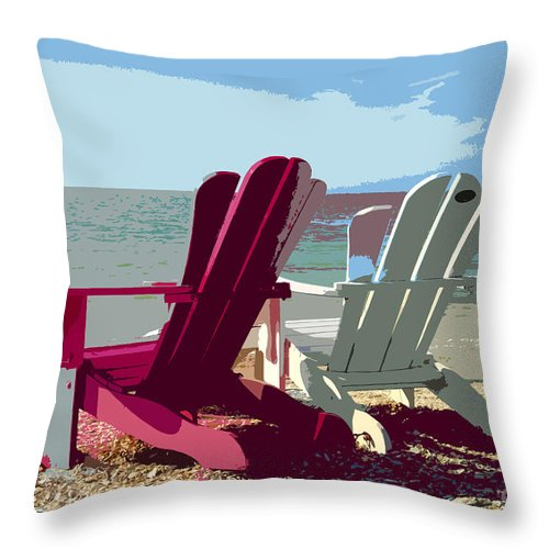 Beach Throw Pillow featuring the painting Two By The Shore by David Lee Thompson