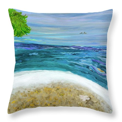 Beach Scene Throw Pillow featuring the painting Two By Two At Midnight Blue by Sara Credito