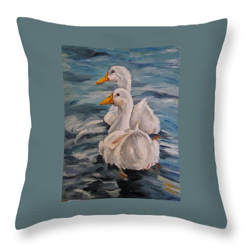 White Ducks Throw Pillow featuring the painting Two By Two by Cheryl Pass