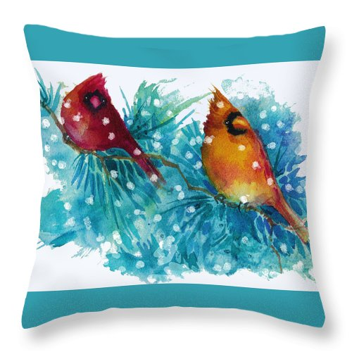 Birds Throw Pillow featuring the painting Two Cardinals by Peggy Wilson