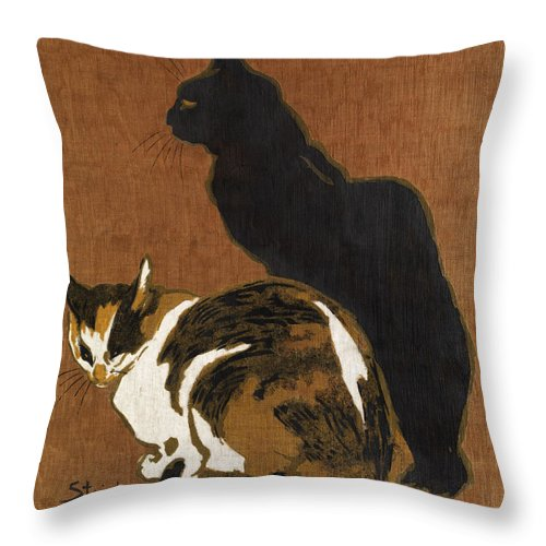 Theophile-alexandre Steinlen Throw Pillow featuring the painting Two Cats by Theophile-Alexandre Steinlen