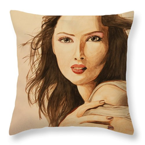 Woman Throw Pillow featuring the painting Two Color Portrait by Michelle Miron-Rebbe