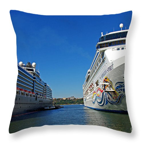 Cruise Throw Pillow featuring the photograph Two Cruise Ships by Zal Latzkovich