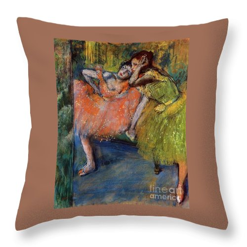 Master Artists Throw Pillow featuring the painting Two Dancers In The Foyer by Degas