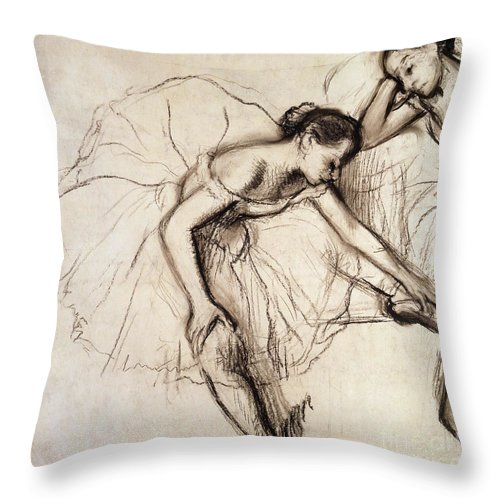 Degas Throw Pillow featuring the drawing Two Dancers Resting by Edgar Degas