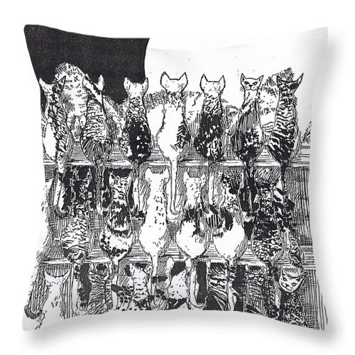 Cats Throw Pillow featuring the drawing Two Dozen And One Cats by Seth Weaver