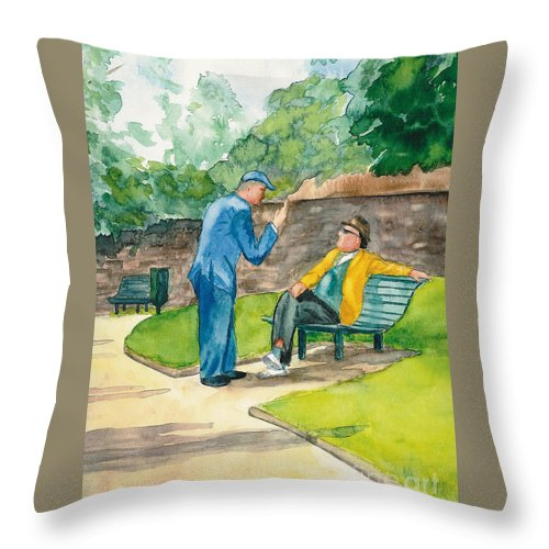 Watercolor Throw Pillow featuring the painting Two Englishmen In Conversation by Vicki Housel