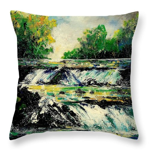 River Throw Pillow featuring the painting Two Falls by Pol Ledent