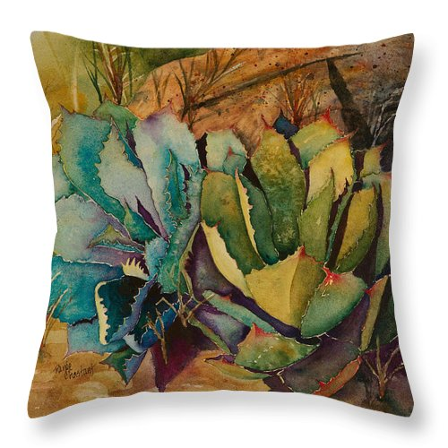 Agave Throw Pillow featuring the painting Two Fat Agaves 300 Lb by Renee Chastant