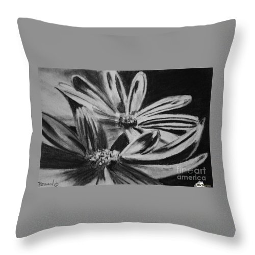 Flowers Throw Pillow featuring the drawing Two Flowers by Regan J Smith